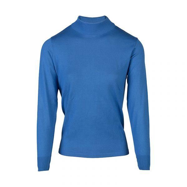 Blauwe turtle-kraag pullover