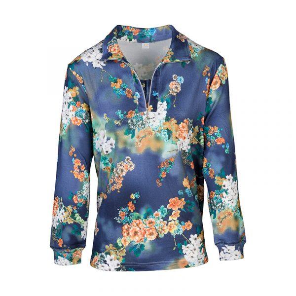 Blauw senioren shirt met rits en bloemen