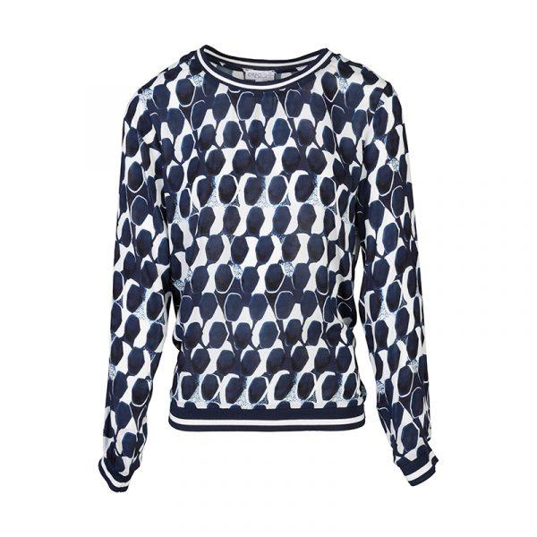 Grafische blauwe dames blouse