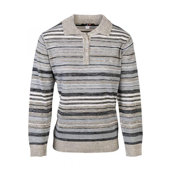 Grijze polo pullover