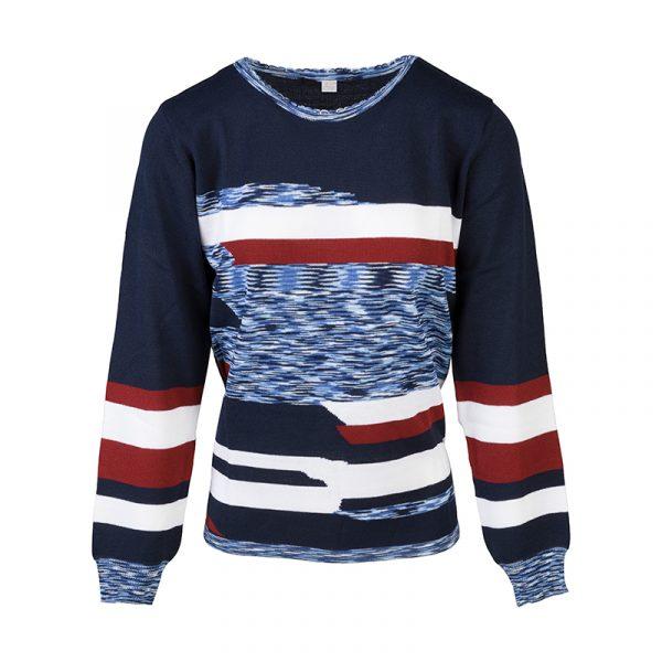 Grafisch blauwe pullover