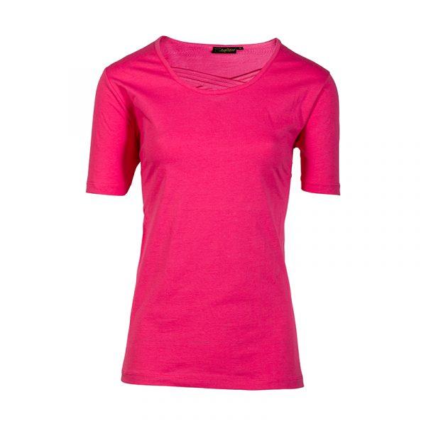 Fuchsia damesshirt korte mouw