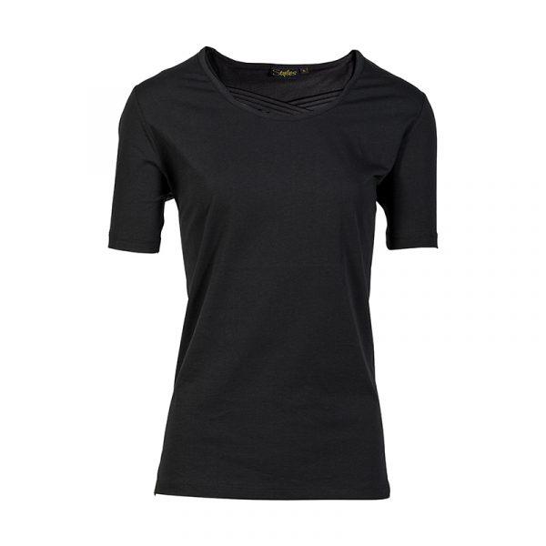 Zwart damesshirt met korte mouw