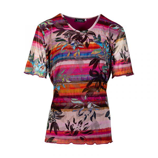 Fuchsia damesshirt met bloemprint