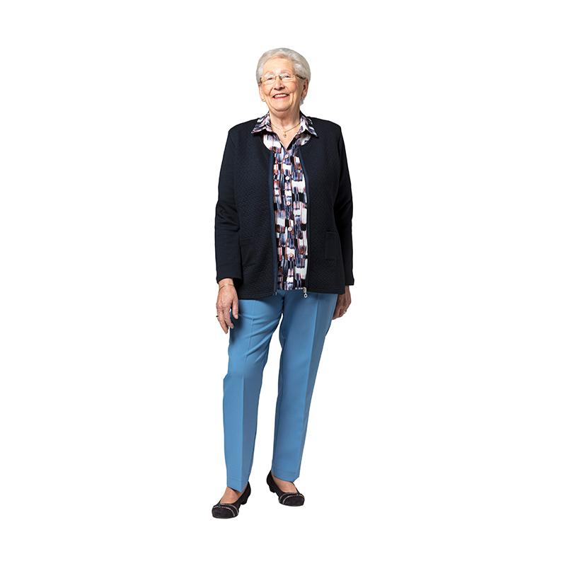 Dames Pantalon met Elastiek Lichtblauw met vest