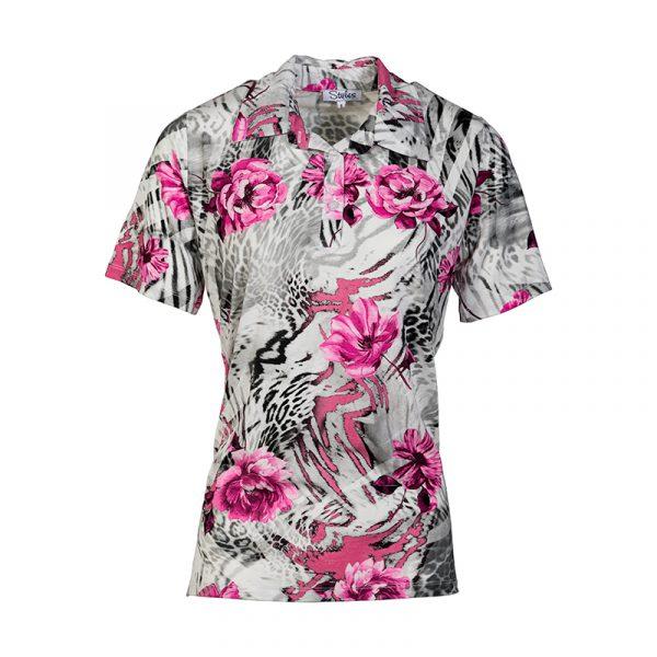 Grijze damespolo met roze bloemenprint
