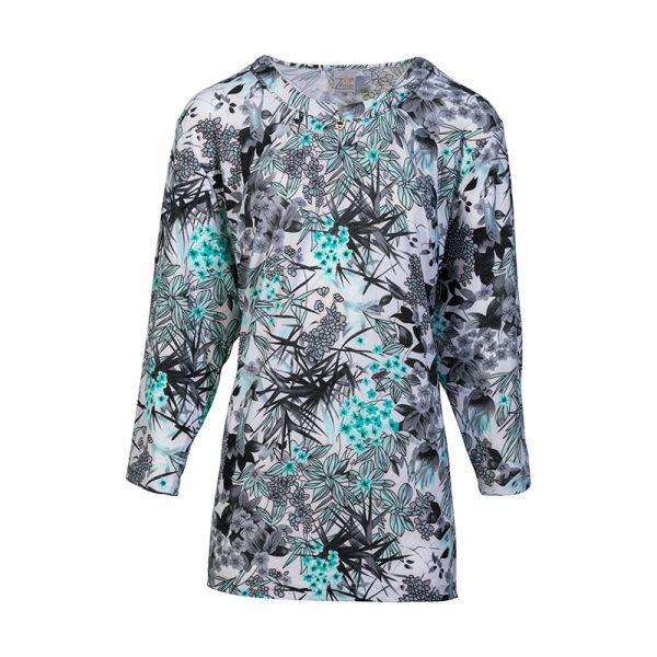 Shirt voor dames grijs dessin 3/4 mouw