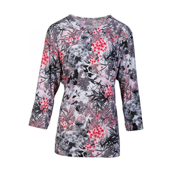 Roze damesshirt met print en 3/4 mouw