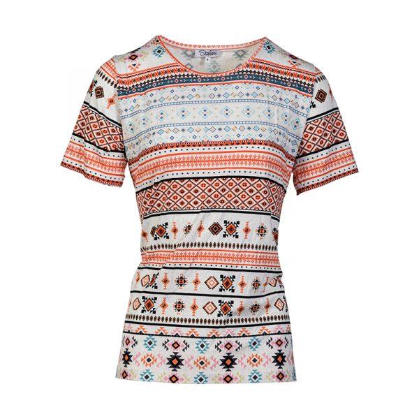 Shirt met korte mouw voor dames multi-print