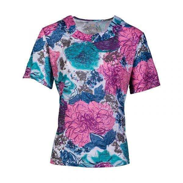 Roze damesshirt met grote bloemprint