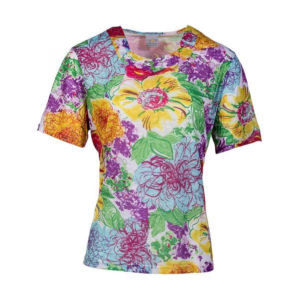 Senioren damesshirt met vrolijke kleuren