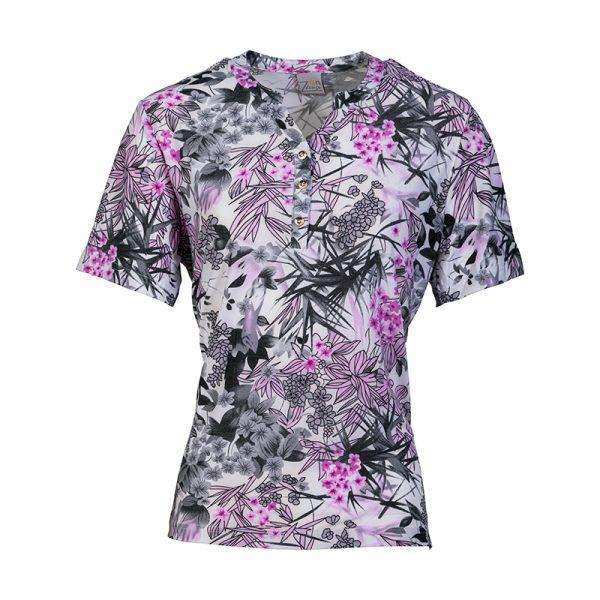 Lila shirt voor dames met korte mouw