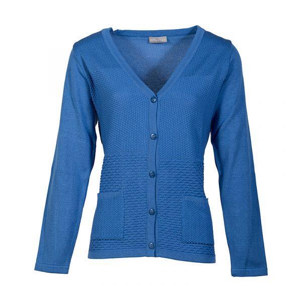 Blauw damesvest met knopen