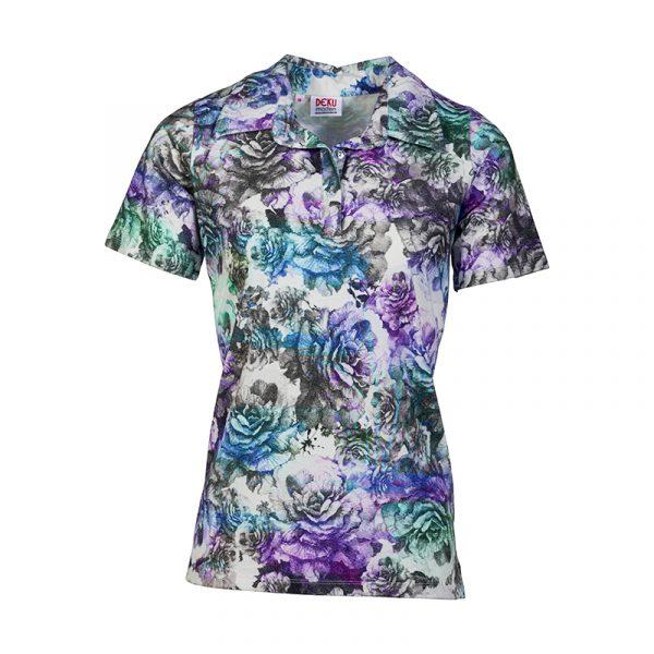 Polo voor dames met paarse bloemprint