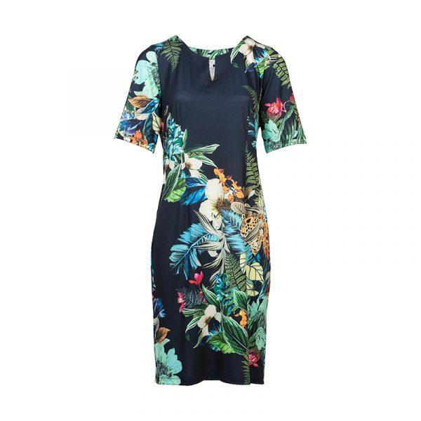 Blauwe jurk met bloemprint