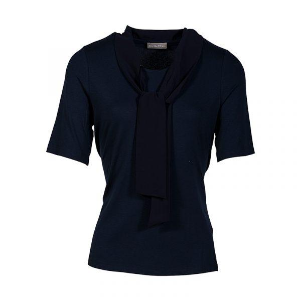 Navy damesshirt met korte mouw