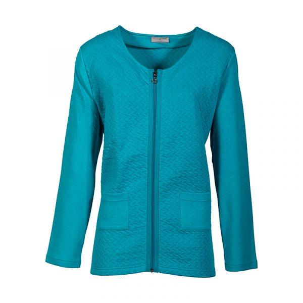 Turquoise damesvest met ritssluiting