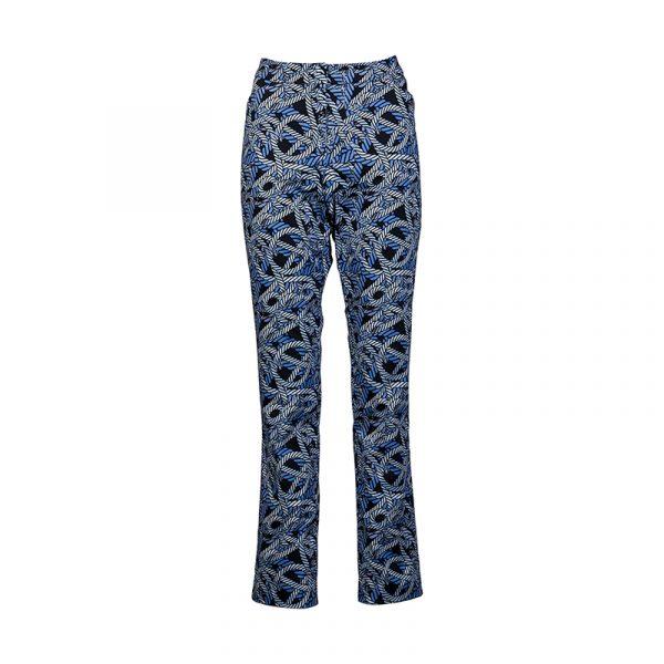 Dames pantalon blauw met print
