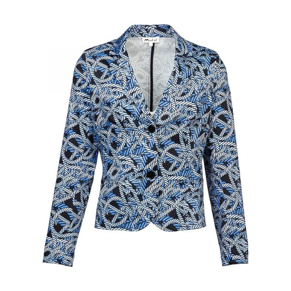Blauwe dames blazer met print