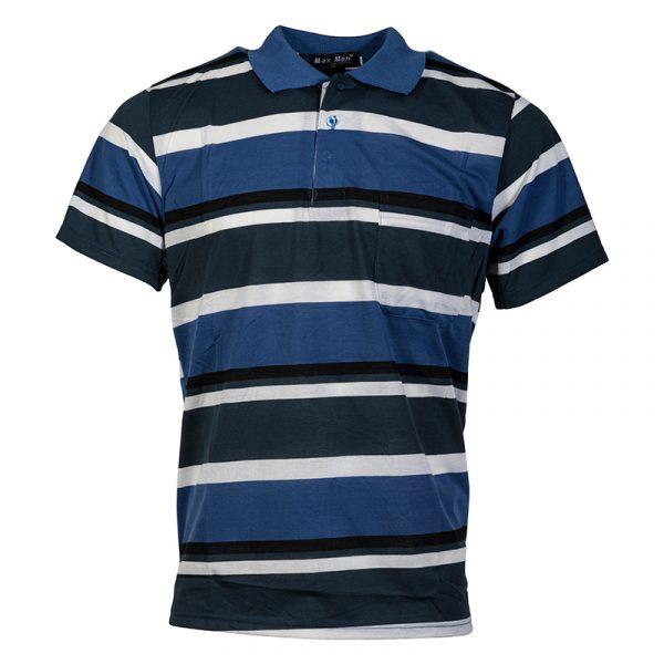 Heren Poloshirt Gestreept midden Blauw