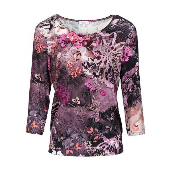 Shirt paars met bloemprint - senioren-mode